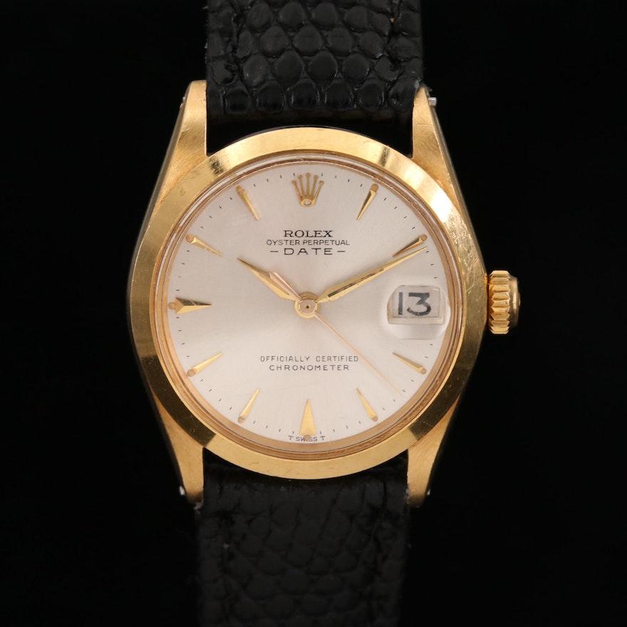 Rolex Date Mid-Size 18K Gold Automatic Wristwatch, 1964