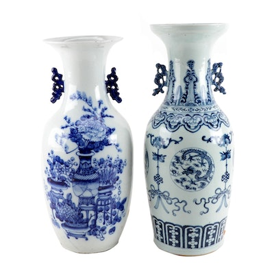 Chinese Porcelain Export Blue and White Floor Vases or Urns, Mid 20th Ca.
