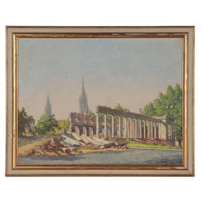 Continental School Oil Painting of Post-WWII Wiesbaden, Mid 20th Century