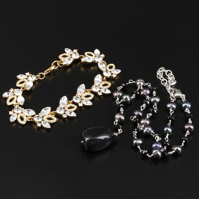 Carolee Sterling Cultured Pearl and Glass Necklace with Rhinestone Bracelet