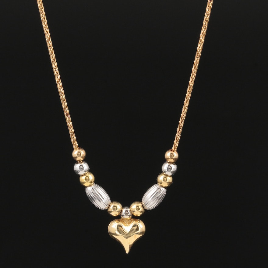 14K Yellow Gold Puffed Heart Necklace With 14K White Gold Accents