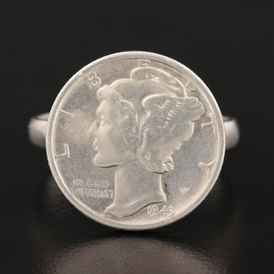 Sterling Silver Ring Featuring 1943 Silver Mercury Dime