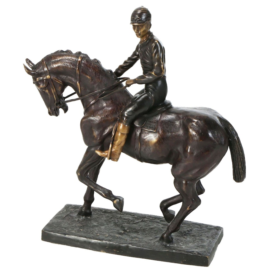 Cold Cast Bronze Sculpture of Horse and Jockey