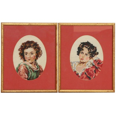 Needlepoint Portraits after Bartolomé Esteban Murillo and Sir Thomas Lawrence