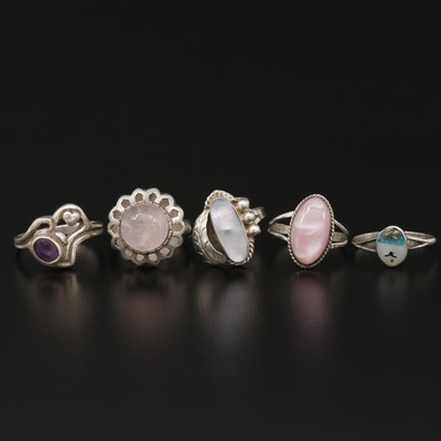 Sterling Ring Selection Featuring Rose Quartz, Mother of Pearl and Amethyst
