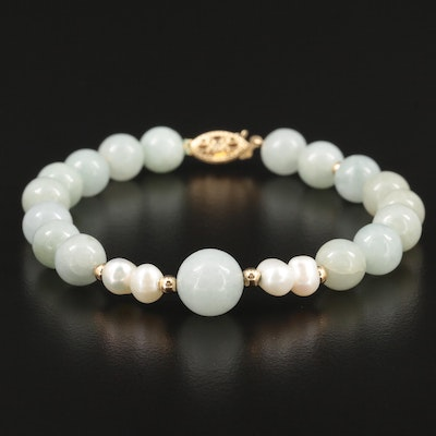 14K Yellow Gold Jadeite and Cultured Pearl Beaded Bracelet