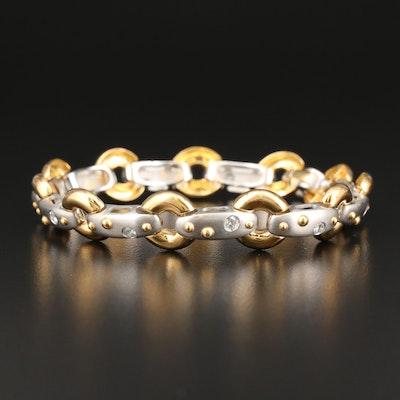 Platinum and 18K Gold Diamond Link Bracelet