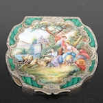 Italian Enameled 800 Silver Compact with Romantic Scene