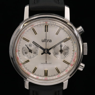 Vintage Ultra Stainless Steel Stem Wind Chronogaph Wristwatch