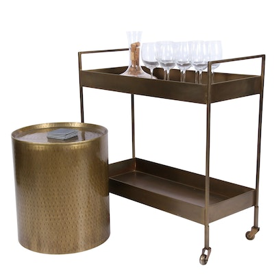 Modern Bar Cart and Side Table, Contemporary