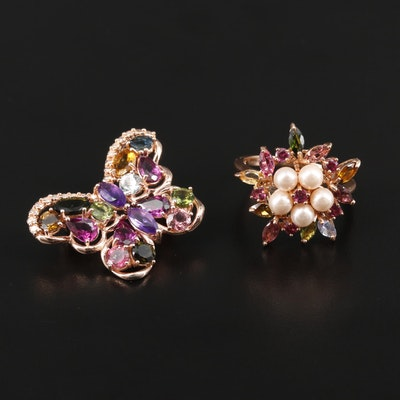 Sterling Amethyst, Tourmaline and Rhodolite Garnet Ring and Butterfly Brooch