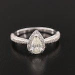 14K White Gold 1.01 CTW Diamond Ring With Pavé Set Shoulders