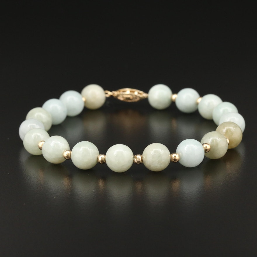 14K Yellow Gold Jadeite Beaded Bracelet