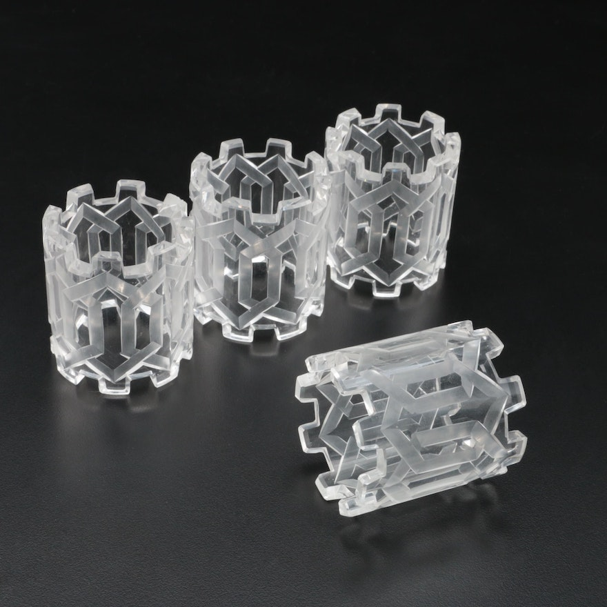 Etched Cut Glass Napkin Rings