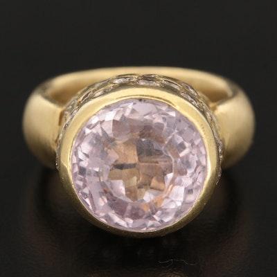 18K Yellow Gold 11.59 CT Kunzite and 2.02 CTW Diamond Ring
