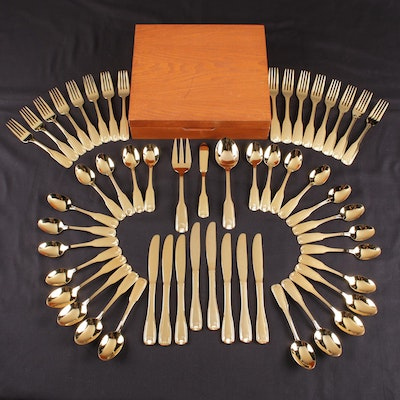 Gold Tone Stainless Steel Flatware with Wooden Chest, Mid to Late 20th Century