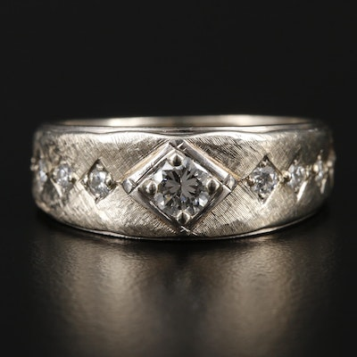 14K White Gold Diamond Florentine Finish Band