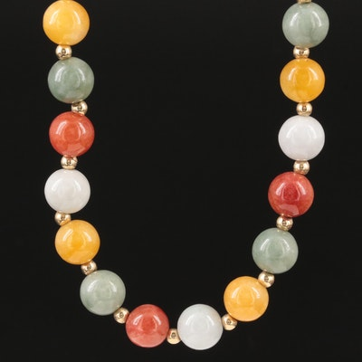 14K Yellow Gold Jadeite Beaded Endless Necklace