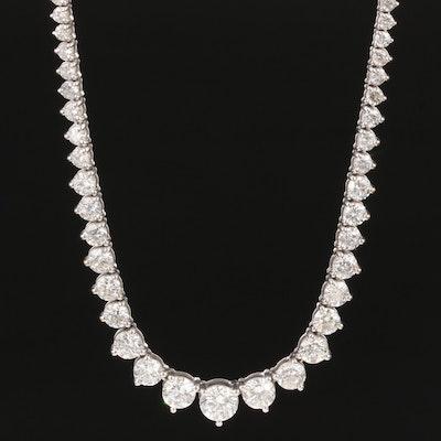 18K White Gold 10.67 CTW Diamond Riviera Necklace