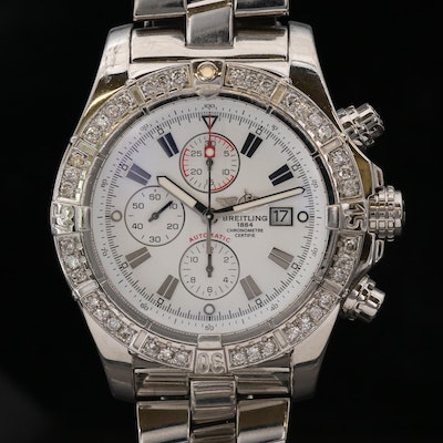 Breitling Super Avenger 1.60 CTW Diamonds and Stainless Steel Chronograph Watch