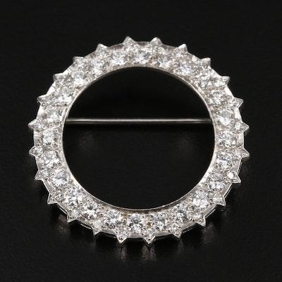Platinum 1.74 CTW Diamond Circle Brooch