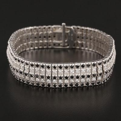 18K White Gold 10.10 CTW Diamond Bracelet Including Fancy Black Diamonds