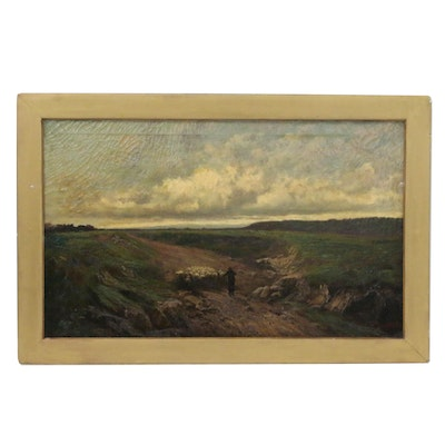 "John Califano Oil Painting ""On to Fresh Pastures"", Late 19th/Early 20th Century"