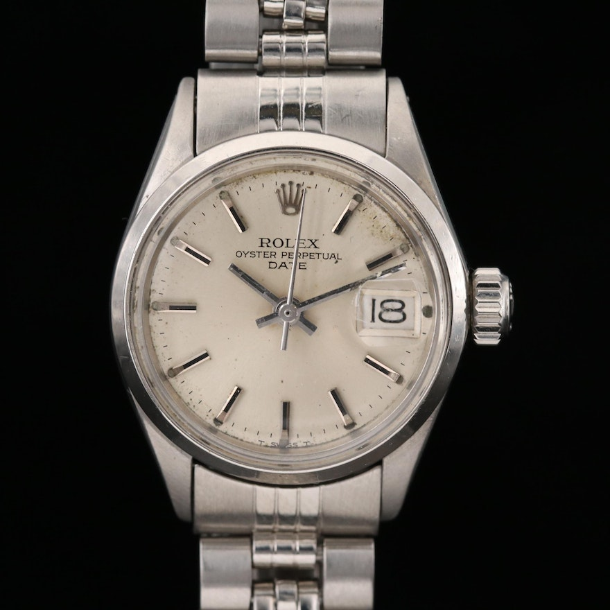 Vintage Rolex Date Stainless Steel Automatic Wristwatch, 1970