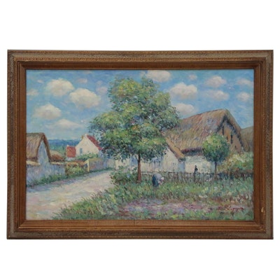 """John Clymer Oil Painting after Gustave Loiseau """"Farmhouse in Vaudreuil"""""""