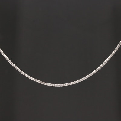 14K White Gold Foxtail Chain Necklace