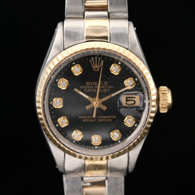 Rolex Datejust 18K Gold and Stainless Steel With Diamond Dial Wristwatch, 1966