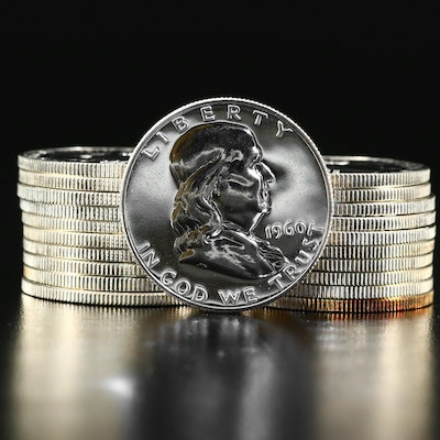 Roll of Twenty 1960 Franklin Silver Half Dollar Proof Coins