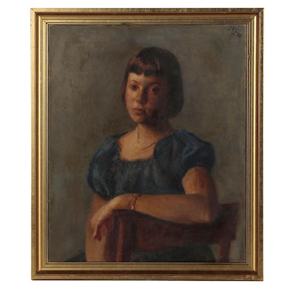 Robert Philipp Oil Portrait of Young Woman, Mid 20th Century