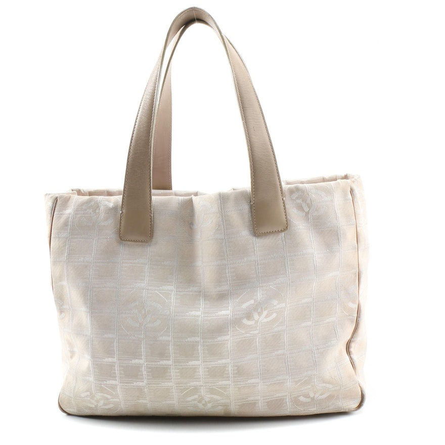 Chanel Travel Line Tote Bag in Beige CC Jacquard and Leather