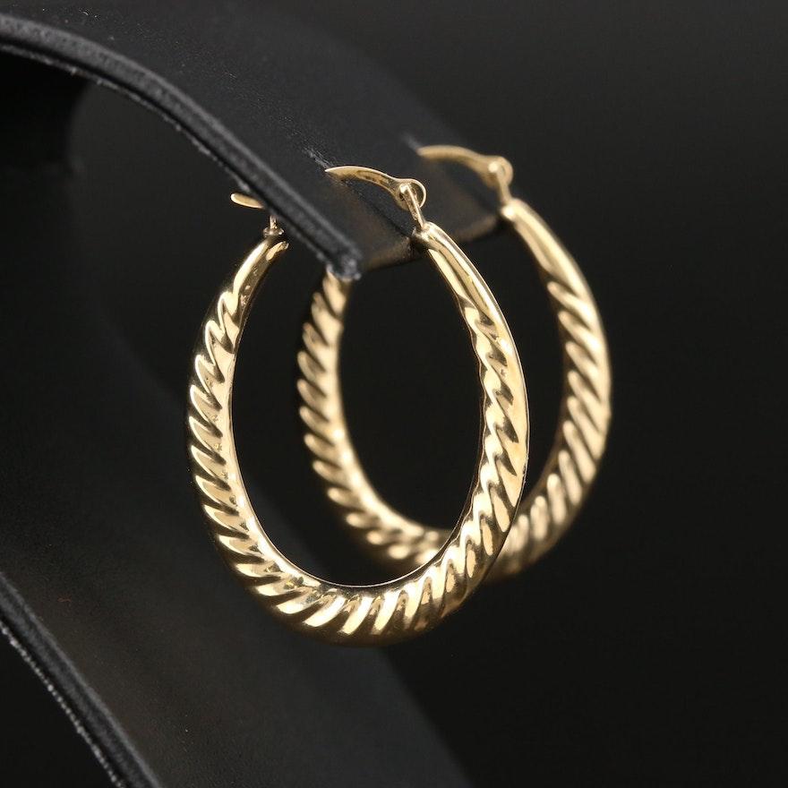 14K Yellow Gold Elongated Earrings