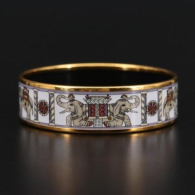 Hermès Vintage Enamel Elephant Bangle Bracelet