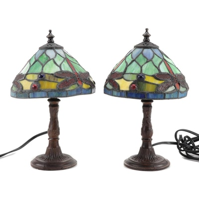Pair of Art Nouveau Style Bronze Finish Metal and Slag Glass Boudoir Lamps