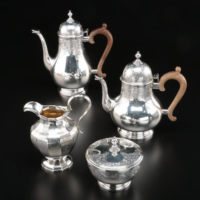 """Gorham """"George I"""" Engraved Sterling Silver Tea Set, Mid-Century with Creamer"""