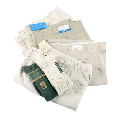 Men's Orvis and Lands' End Khaki Pants with Eddie Bauer Socks