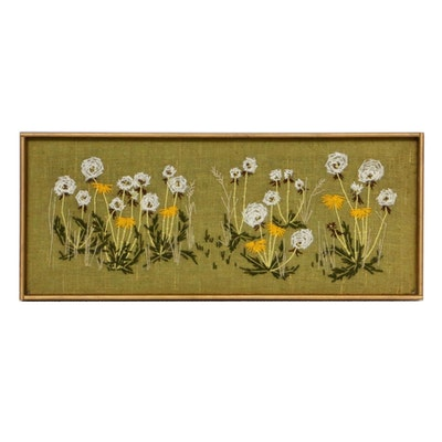 Wool Surface Embroidery of a Dandelion Patch, Mid-20th Century