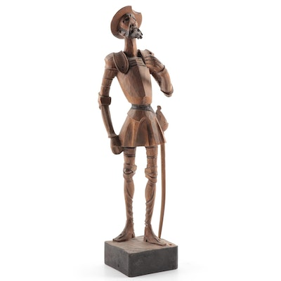 Ouro Artesania Carved Wood Don Quixote Figure, Mid-20th Century