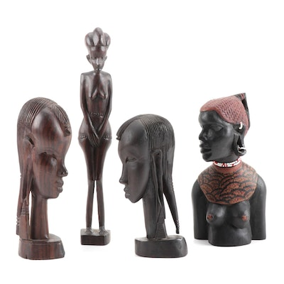 Hand Carved African Hardwood Female Figures, Mid-20th Century