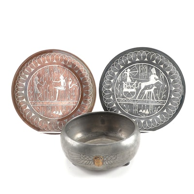 Egyptian Revival Benedict Pewter Bowl and Silver Overlaid Copper Wall Plates