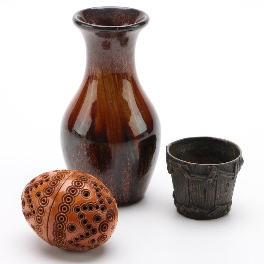 Glitter Glaze Bud Vase, Miniature Brass Bucket, and Tagua Nut Carved Case