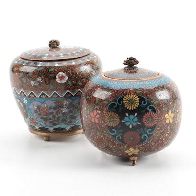 Japanese Cloissoné Enamel Goldstone Lidded Three Footed Jars with Lotus Finials