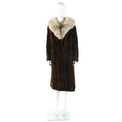 Fontaine Herringbone Mink Fur Coat with Fox Fur Collar
