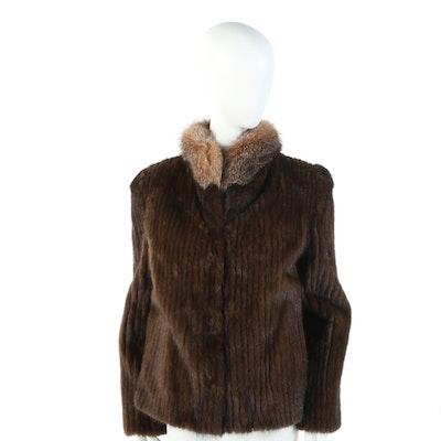 Saga Corded Mink Fur Jacket with Crystal Fox Fur Collar