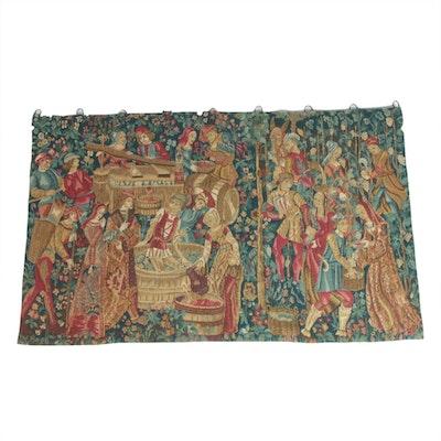 Corona Decor Co. Machine-Woven Jacquard Tapestry of a Vineyard Harvest