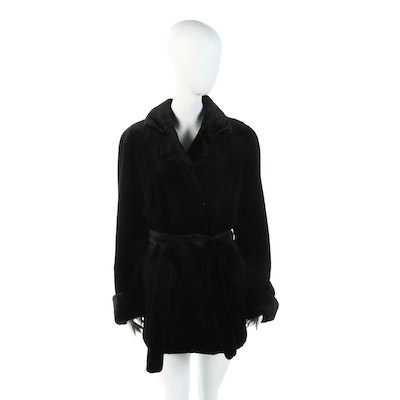 Sheared Black Mink Fur Belted Coat with Turn Back Cuffs