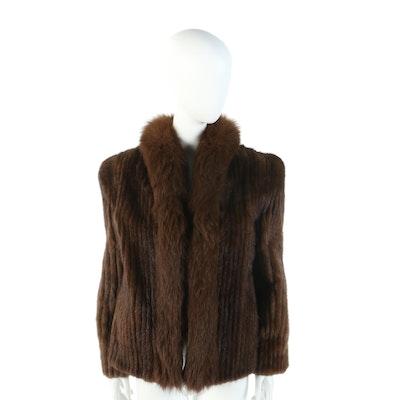 Saga Corded Mink Fur Jacket with Fox Fur Collar from Henig Furs
